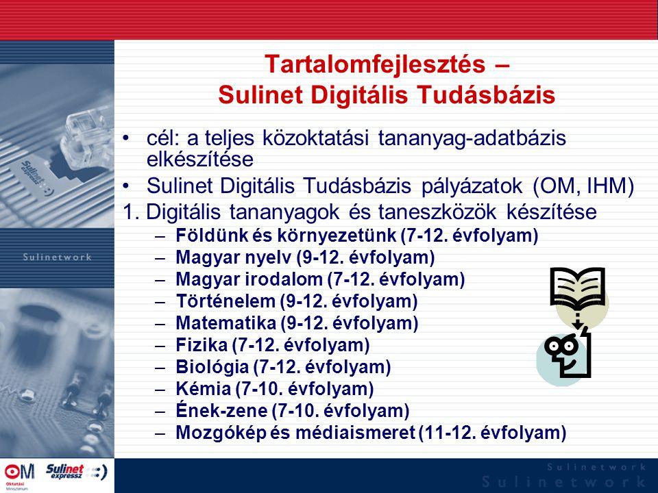 Tartalomfejlesztés – Sulinet Digitális Tudásbázis cél: a teljes közoktatási tananyag-adatbázis elkészítése Sulinet Digitális Tudásbázis pályázatok (OM