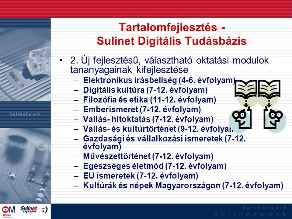 Tartalomfejlesztés - Sulinet Digitális Tudásbázis 2. Új fejlesztésű, választható oktatási modulok tananyagainak kifejlesztése –Elektronikus írásbelisé