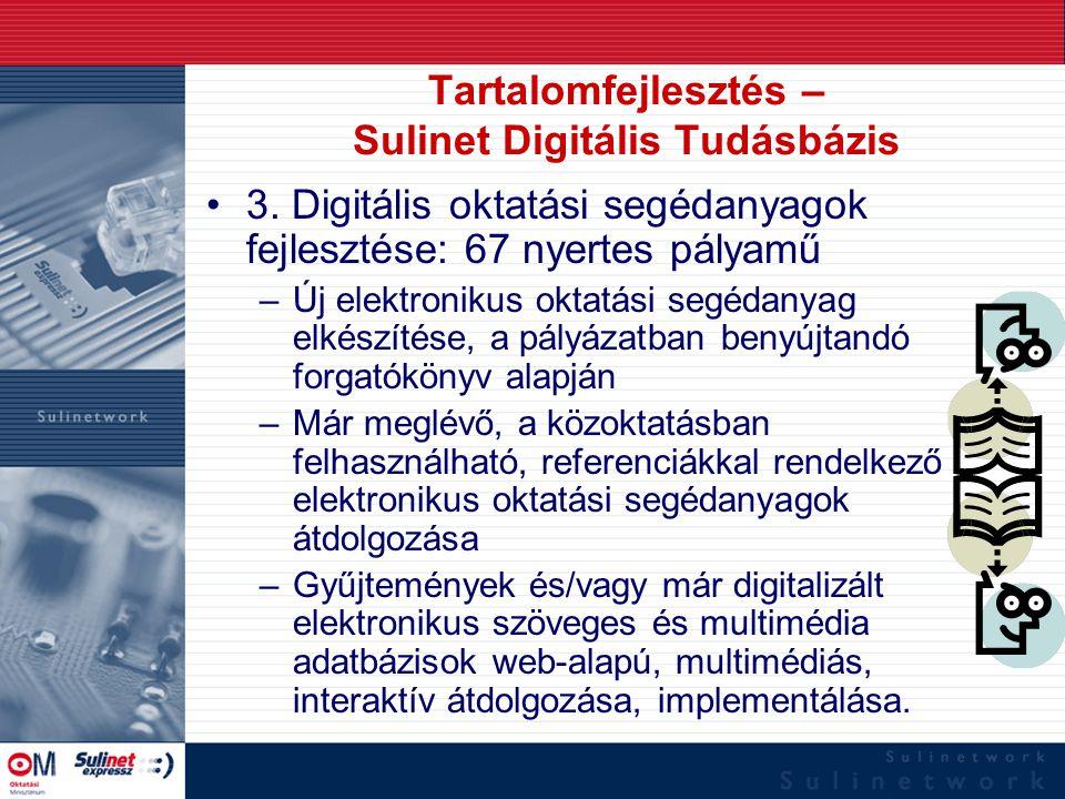 Tartalomfejlesztés – Sulinet Digitális Tudásbázis 3. Digitális oktatási segédanyagok fejlesztése: 67 nyertes pályamű –Új elektronikus oktatási segédan