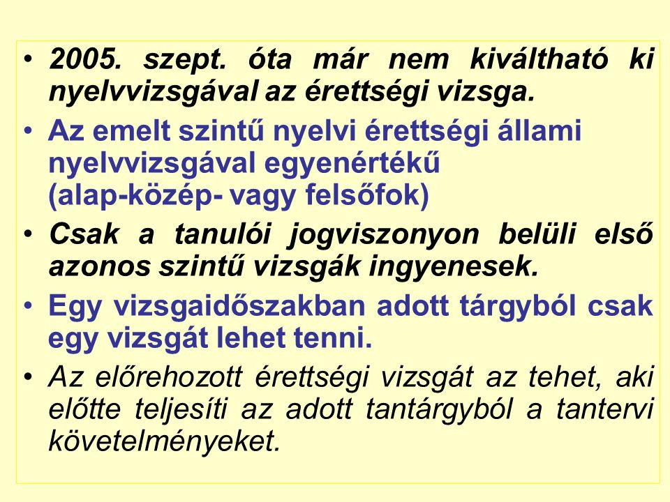 2005.szept. óta már nem kiváltható ki nyelvvizsgával az érettségi vizsga.