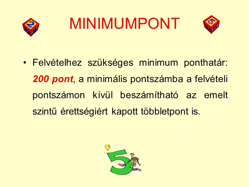 MINIMUMPONT Felvételhez szükséges minimum ponthatár: 200 pont, a minimális pontszámba a felvételi pontszámon kívül beszámítható az emelt szintű érettségiért kapott többletpont is.