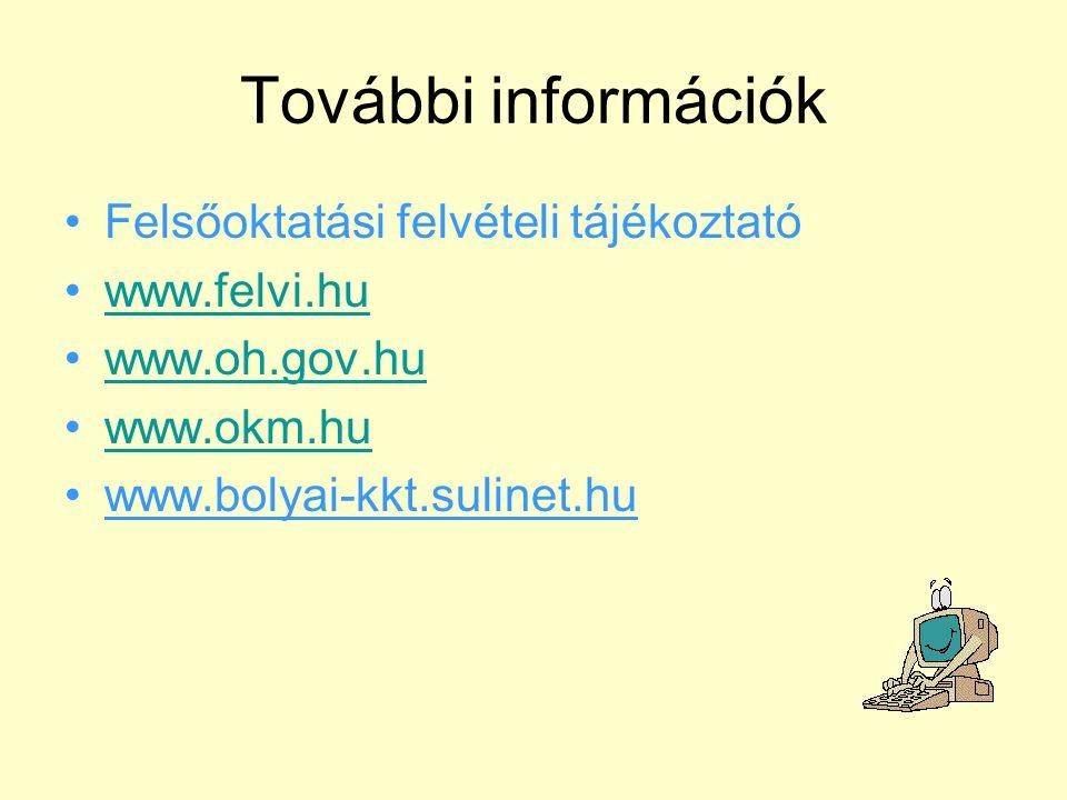 További információk Felsőoktatási felvételi tájékoztató www.felvi.hu www.oh.gov.hu www.okm.hu www.bolyai-kkt.sulinet.hu