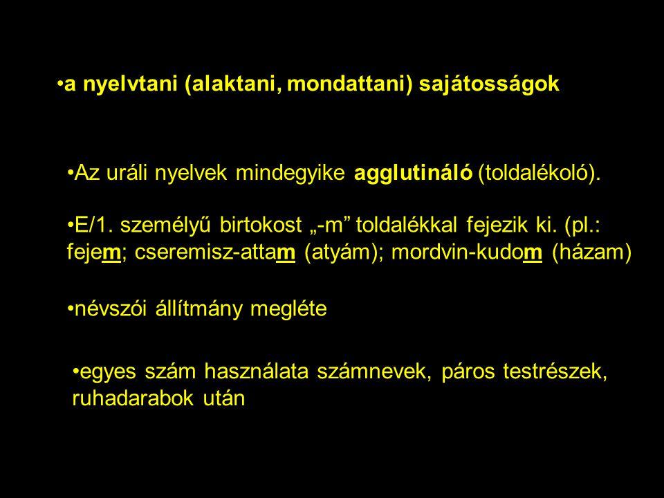 """Az uráli nyelvek mindegyike agglutináló (toldalékoló). E/1. személyű birtokost """"-m"""" toldalékkal fejezik ki. (pl.: fejem; cseremisz-attam (atyám); mord"""