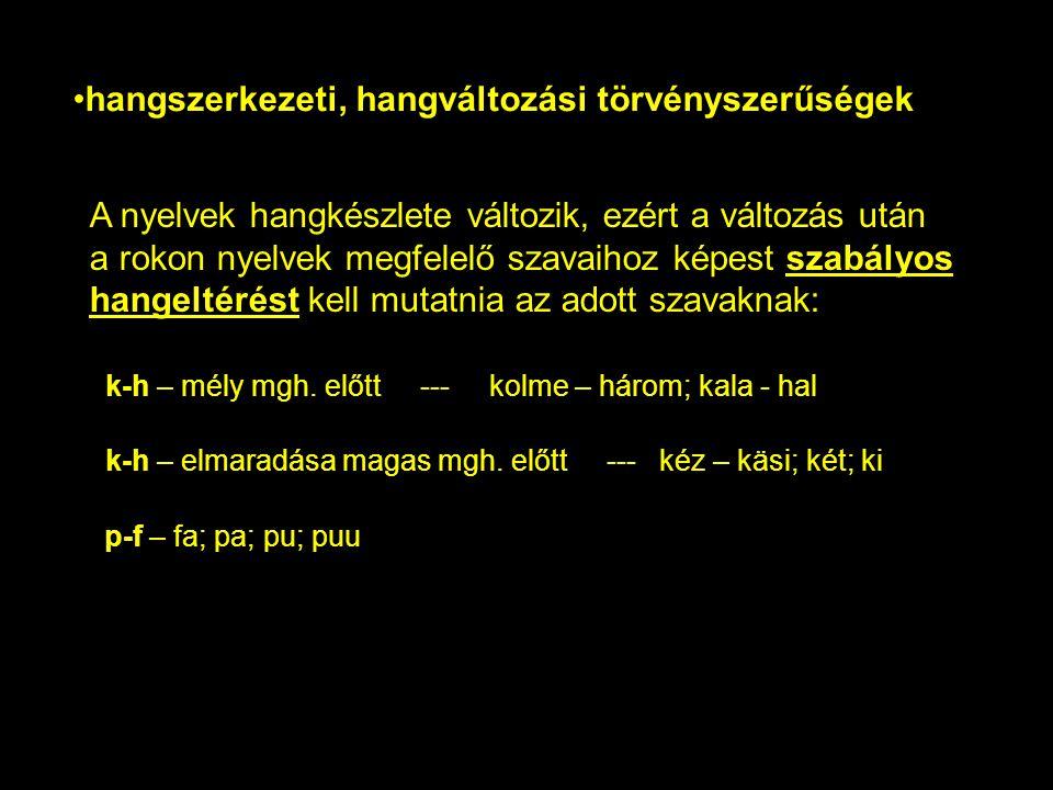 A nyelvek hangkészlete változik, ezért a változás után a rokon nyelvek megfelelő szavaihoz képest szabályos hangeltérést kell mutatnia az adott szavak