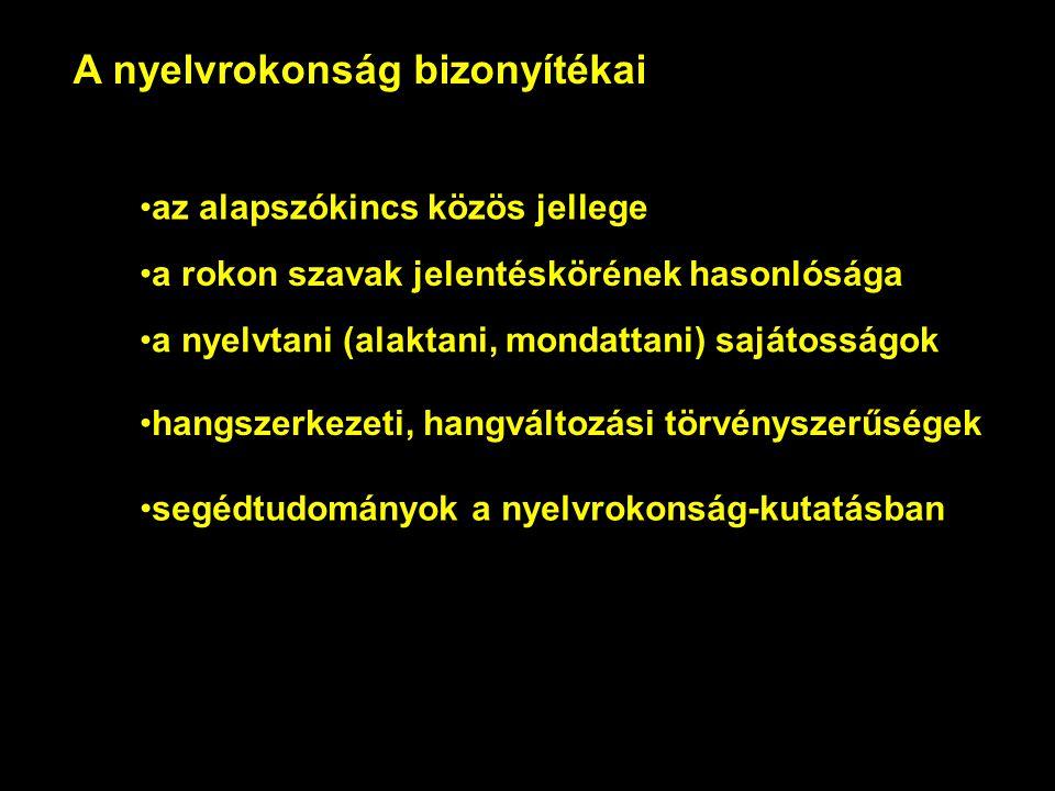 A nyelvrokonság bizonyítékai az alapszókincs közös jellege a rokon szavak jelentéskörének hasonlósága a nyelvtani (alaktani, mondattani) sajátosságok