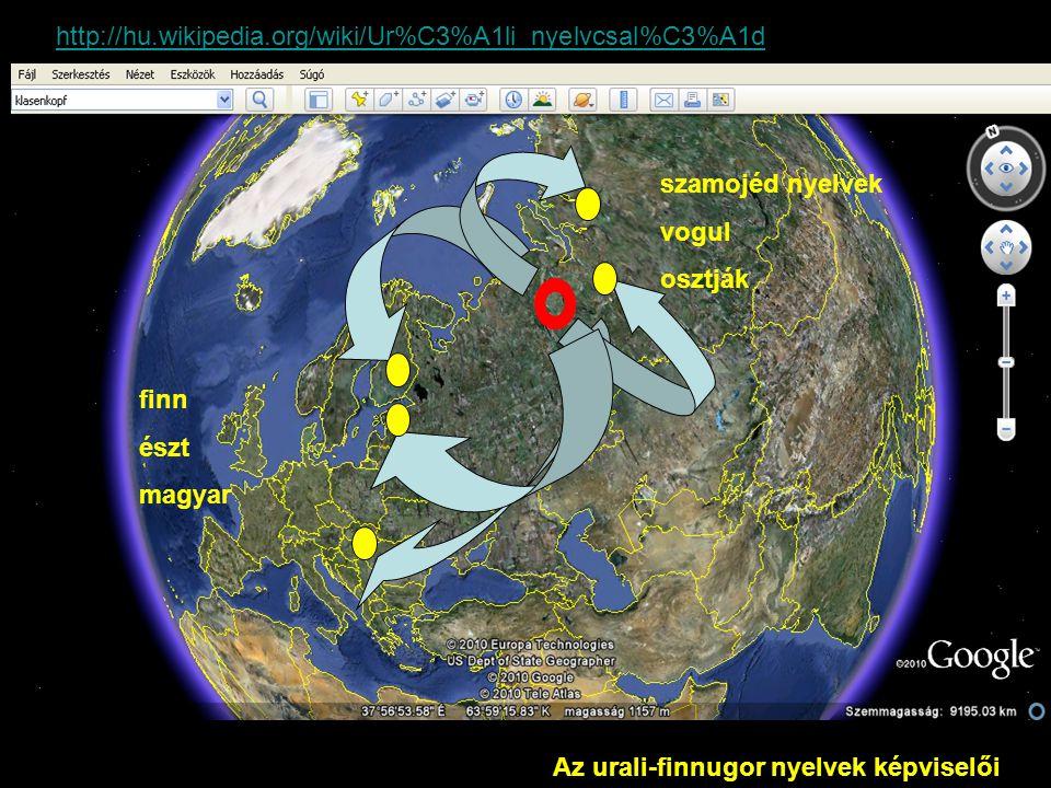 Az urali-finnugor nyelvek képviselői http://hu.wikipedia.org/wiki/Ur%C3%A1li_nyelvcsal%C3%A1d finn észt magyar szamojéd nyelvek vogul osztják