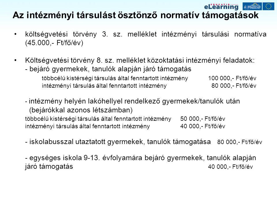 Az intézményi társulást ösztönző normatív támogatások költségvetési törvény 3. sz. melléklet intézményi társulási normatíva (45.000,- Ft/fő/év) Költsé
