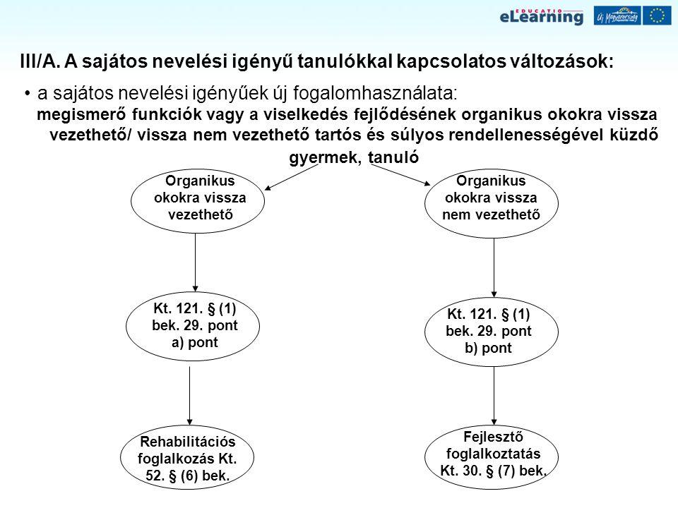 III/A. A sajátos nevelési igényű tanulókkal kapcsolatos változások: a sajátos nevelési igényűek új fogalomhasználata: megismerő funkciók vagy a viselk