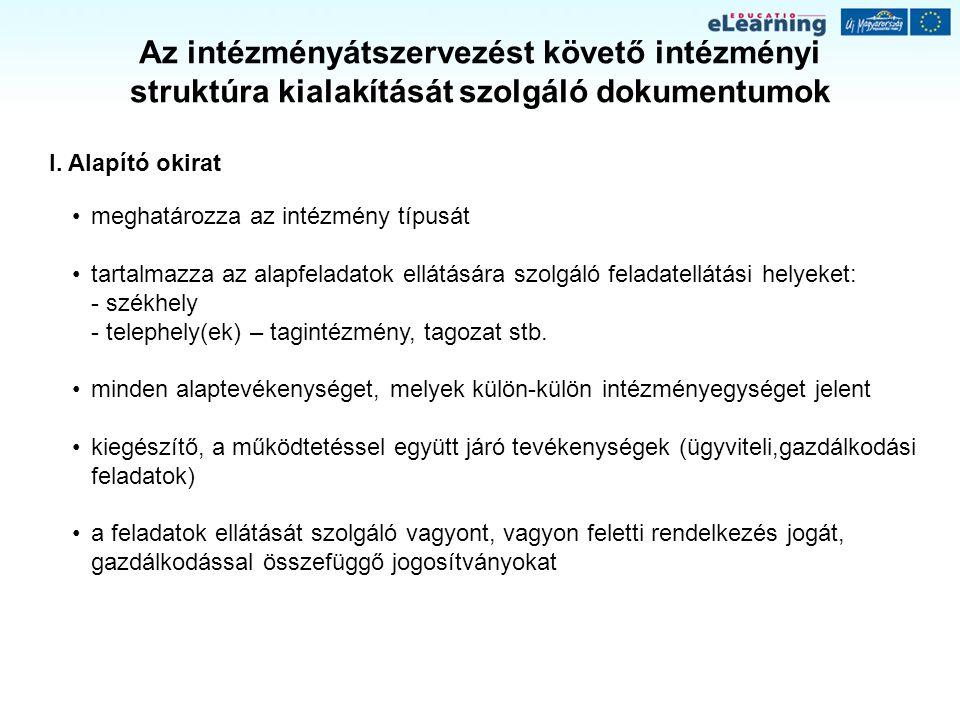 Az intézményi társulási megállapodások főbb tartalmi elemei II.