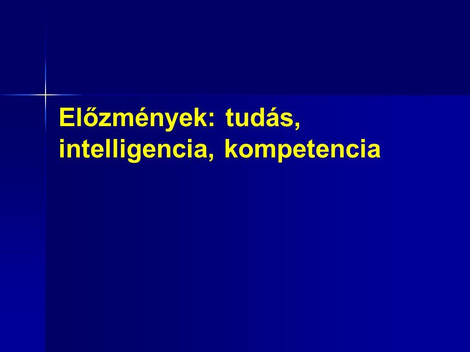 Előzmények: tudás, intelligencia, kompetencia