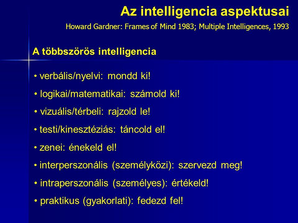 Az intelligencia aspektusai verbális/nyelvi: mondd ki.