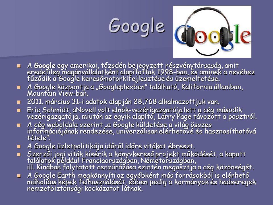 Google A Google egy amerikai, tőzsdén bejegyzett részvénytársaság, amit eredetileg magánvállalatként alapítottak 1998-ban, és aminek a nevéhez fűződik