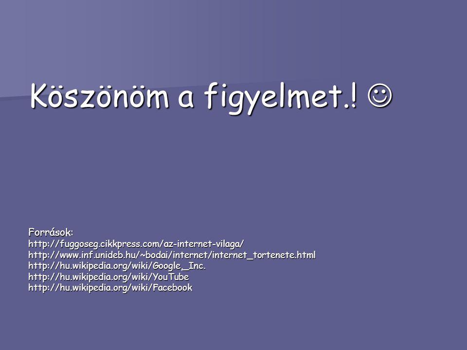 Köszönöm a figyelmet.! Köszönöm a figyelmet.! Források:http://fuggoseg.cikkpress.com/az-internet-vilaga/http://www.inf.unideb.hu/~bodai/internet/inter