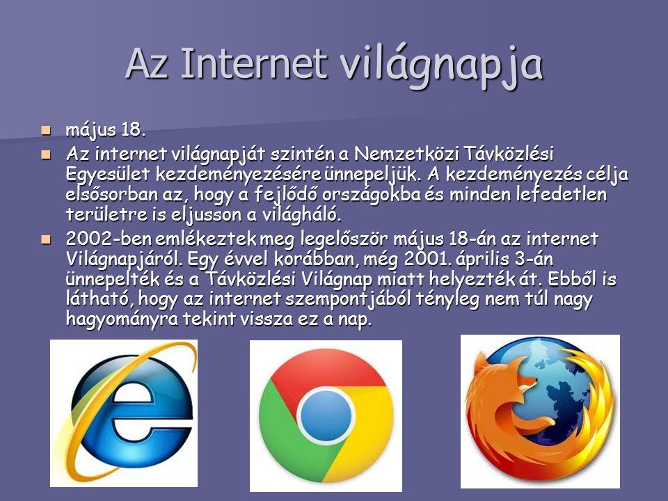 Az Internet világnapja május 18. május 18. Az internet világnapját szintén a Nemzetközi Távközlési Egyesület kezdeményezésére ünnepeljük. A kezdeménye