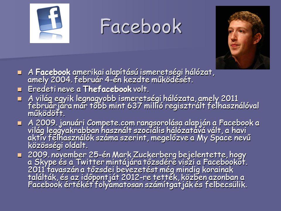 Facebook A Facebook amerikai alapítású ismeretségi hálózat, amely 2004. február 4-én kezdte működését. A Facebook amerikai alapítású ismeretségi hálóz