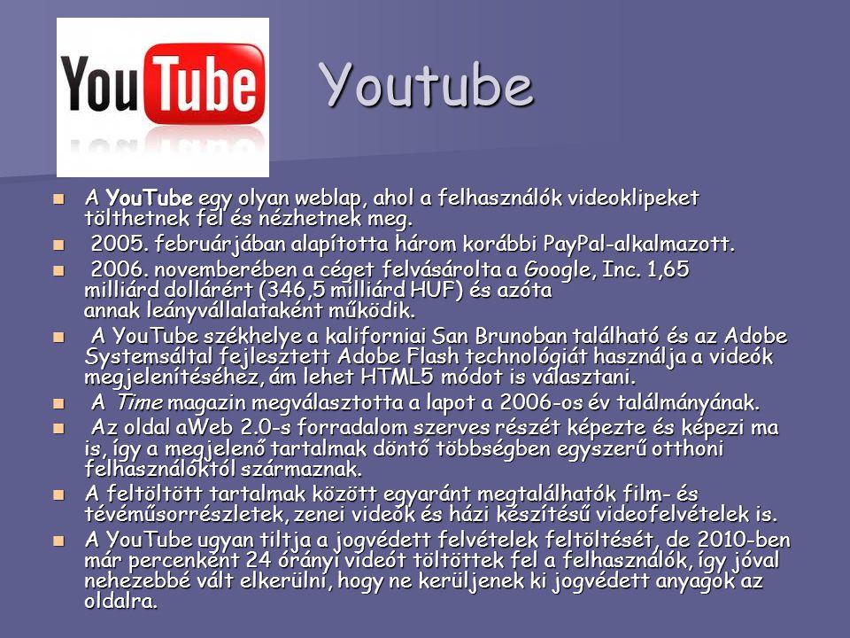 Youtube A YouTube egy olyan weblap, ahol a felhasználók videoklipeket tölthetnek fel és nézhetnek meg. A YouTube egy olyan weblap, ahol a felhasználók
