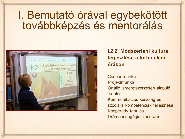 I. Bemutató órával egybekötött továbbképzés és mentorálás I.2.2. Módszertani kultúra terjesztése a történelem órákon Csoportmunka Projektmunka Önálló