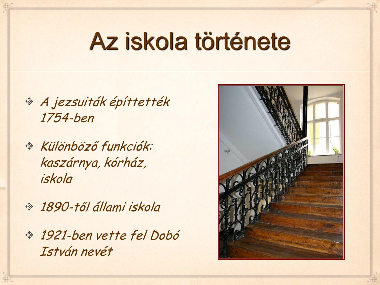 Az iskola története A jezsuiták építtették 1754-ben Különböző funkciók: kaszárnya, kórház, iskola 1890-től állami iskola 1921-ben vette fel Dobó Istvá