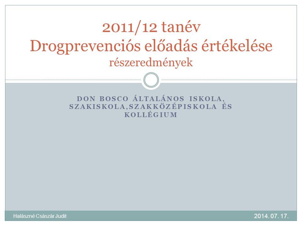 DON BOSCO ÁLTALÁNOS ISKOLA, SZAKISKOLA,SZAKKÖZÉPISKOLA ÉS KOLLÉGIUM 2011/12 tanév Drogprevenciós előadás értékelése részeredmények 2014. 07. 17. Halás