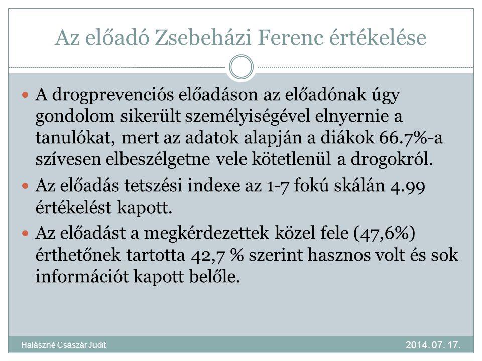 Az előadó Zsebeházi Ferenc értékelése A drogprevenciós előadáson az előadónak úgy gondolom sikerült személyiségével elnyernie a tanulókat, mert az adatok alapján a diákok 66.7%-a szívesen elbeszélgetne vele kötetlenül a drogokról.