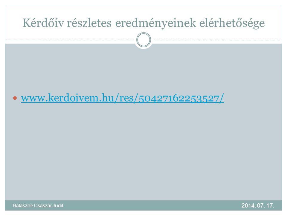 Kérdőív részletes eredményeinek elérhetősége www.kerdoivem.hu/res/50427162253527/ 2014. 07. 17. Halászné Császár Judit