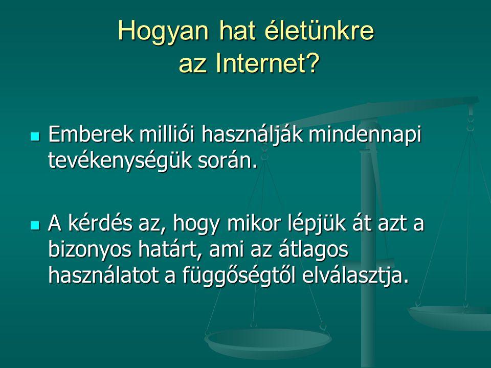 Hogyan hat életünkre az Internet? Emberek milliói használják mindennapi tevékenységük során. Emberek milliói használják mindennapi tevékenységük során