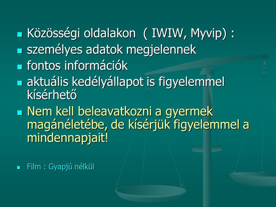 Közösségi oldalakon ( IWIW, Myvip) : Közösségi oldalakon ( IWIW, Myvip) : személyes adatok megjelennek személyes adatok megjelennek fontos információk