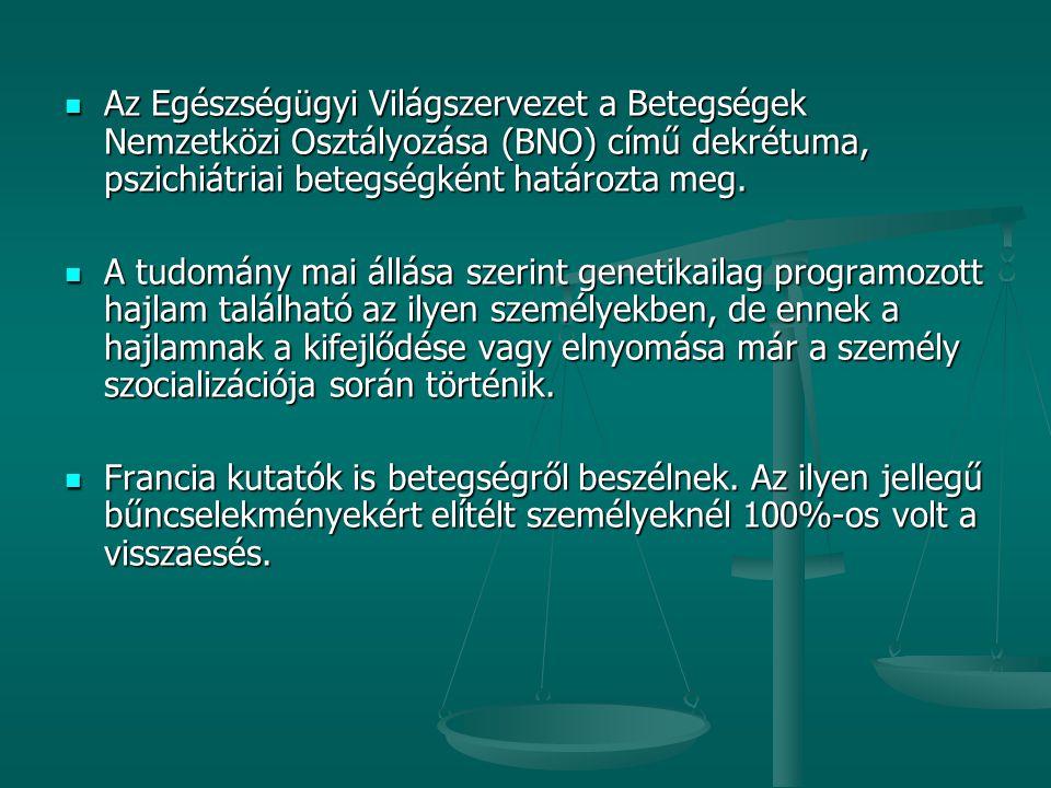 Az Egészségügyi Világszervezet a Betegségek Nemzetközi Osztályozása (BNO) című dekrétuma, pszichiátriai betegségként határozta meg. Az Egészségügyi Vi