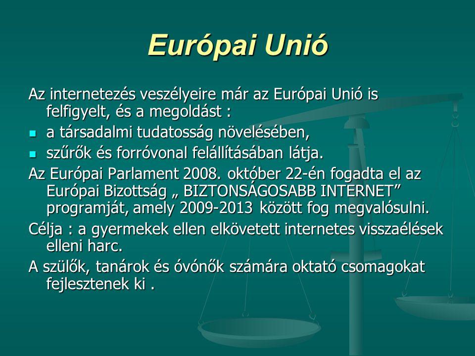 Európai Unió Az internetezés veszélyeire már az Európai Unió is felfigyelt, és a megoldást : a társadalmi tudatosság növelésében, a társadalmi tudatos