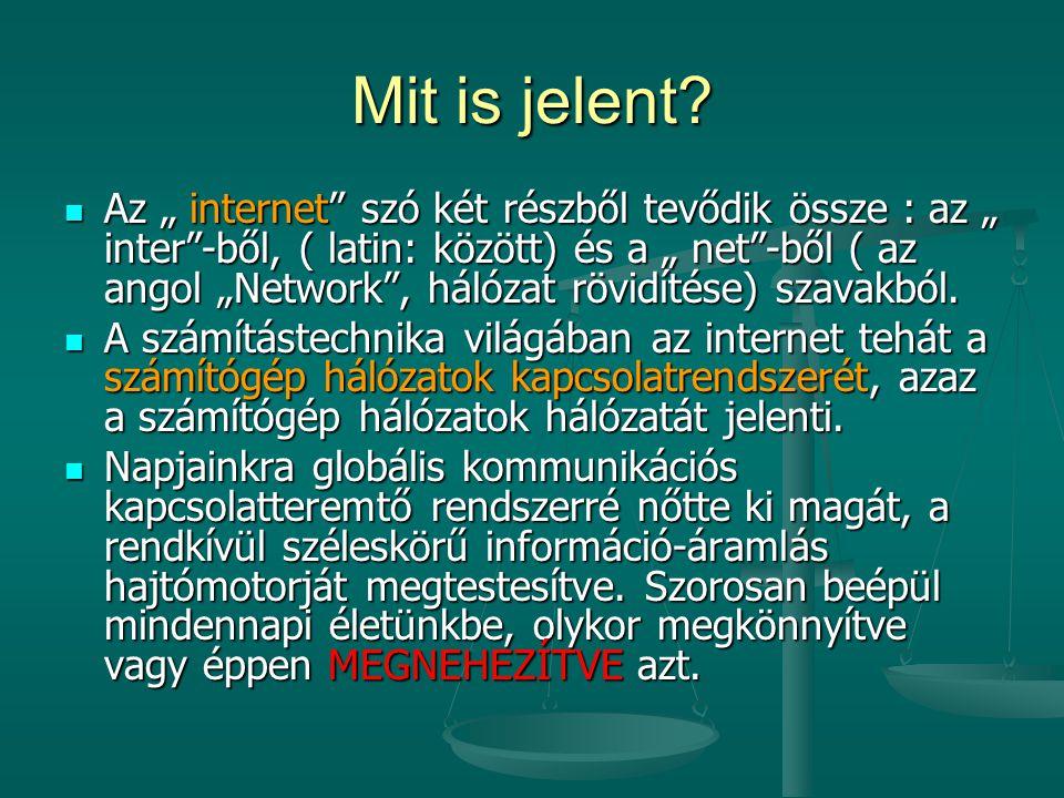 """Mit is jelent? Az """" internet"""" szó két részből tevődik össze : az """" inter""""-ből, ( latin: között) és a """" net""""-ből ( az angol """"Network"""", hálózat rövidíté"""