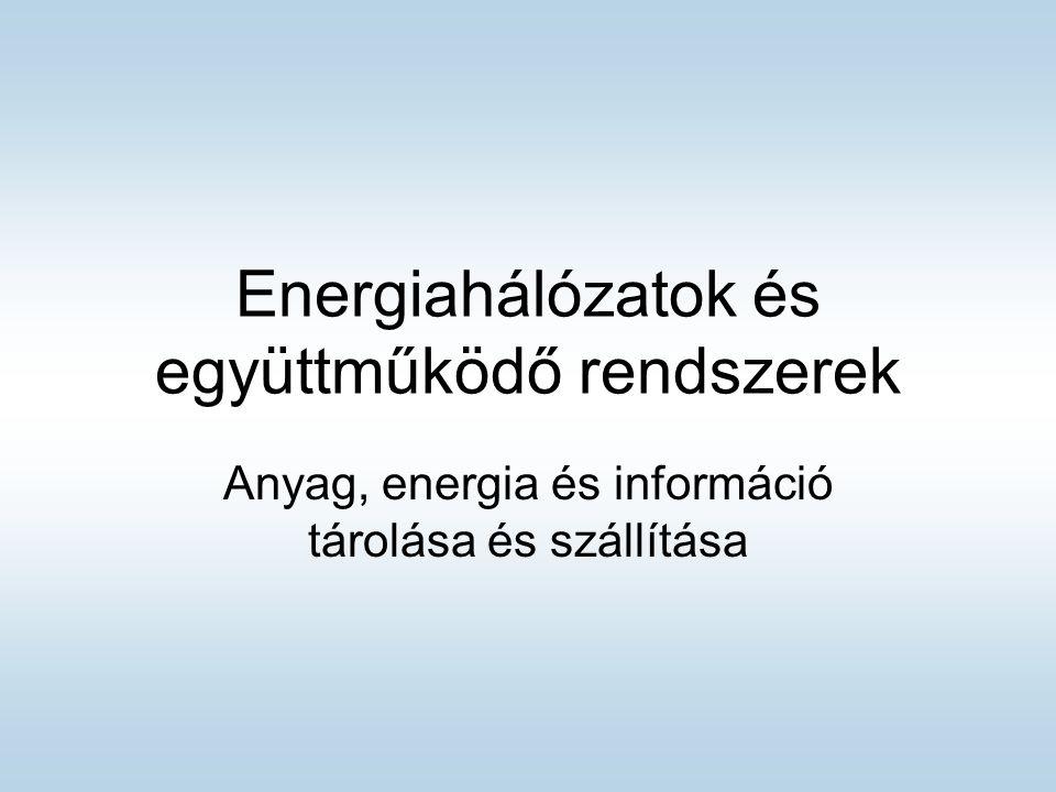 Energiahálózatok és együttműködő rendszerek Anyag, energia és információ tárolása és szállítása