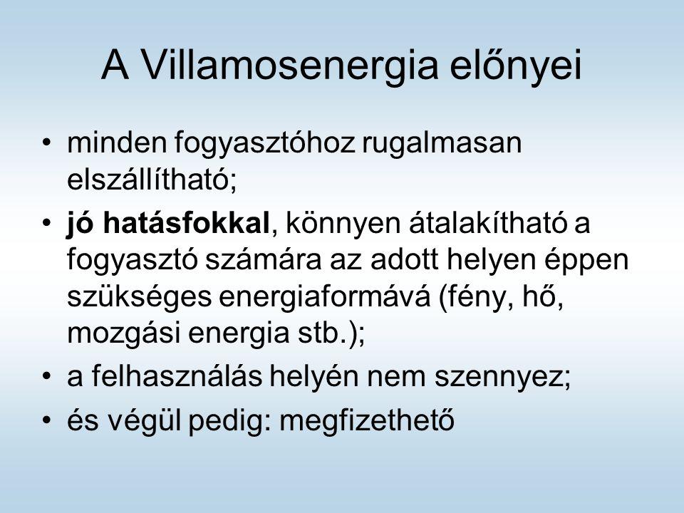 A Villamosenergia előnyei minden fogyasztóhoz rugalmasan elszállítható; jó hatásfokkal, könnyen átalakítható a fogyasztó számára az adott helyen éppen szükséges energiaformává (fény, hő, mozgási energia stb.); a felhasználás helyén nem szennyez; és végül pedig: megfizethető