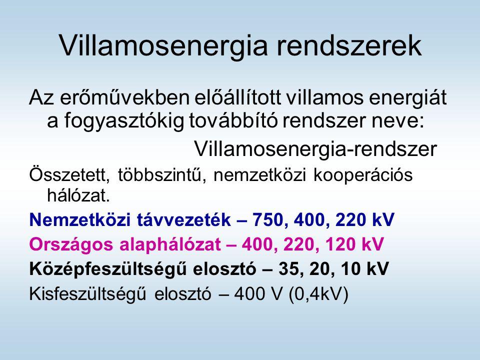 Villamosenergia rendszerek Az erőművekben előállított villamos energiát a fogyasztókig továbbító rendszer neve: Villamosenergia-rendszer Összetett, többszintű, nemzetközi kooperációs hálózat.