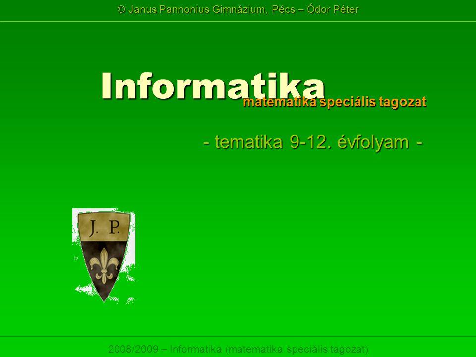 © Janus Pannonius Gimnázium, Pécs – Ódor Péter 2008/2009 – Informatika (matematika speciális tagozat) Informatika - tematika 9-12. évfolyam - matemati