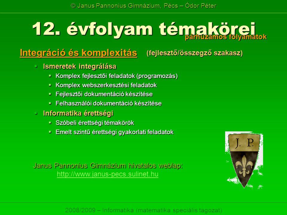 © Janus Pannonius Gimnázium, Pécs – Ódor Péter 2008/2009 – Informatika (matematika speciális tagozat)  Ismeretek integrálása  Komplex fejlesztői fel