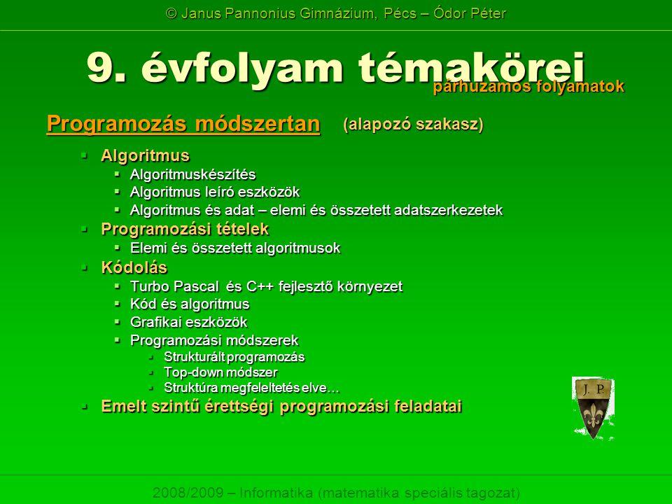 © Janus Pannonius Gimnázium, Pécs – Ódor Péter 2008/2009 – Informatika (matematika speciális tagozat) 9. évfolyam témakörei  Algoritmus  Algoritmusk