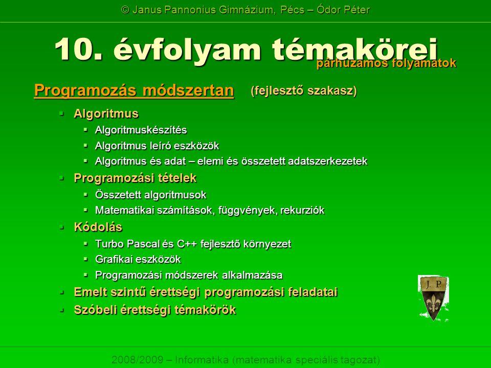 © Janus Pannonius Gimnázium, Pécs – Ódor Péter 2008/2009 – Informatika (matematika speciális tagozat)  Algoritmus  Algoritmuskészítés  Algoritmus l