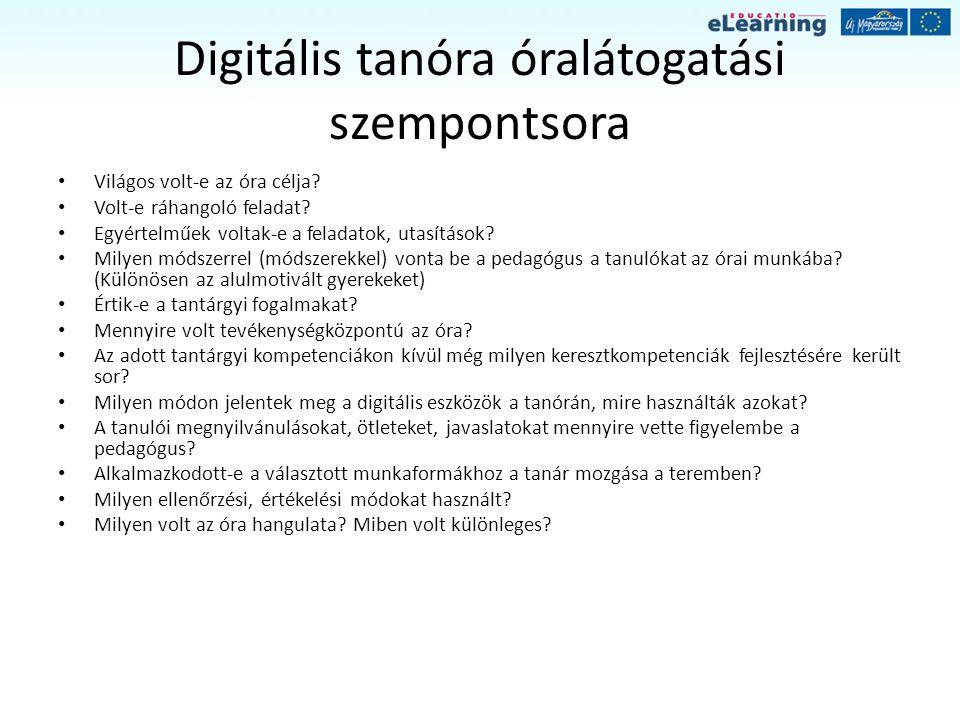 Digitális tanóra óralátogatási szempontsora Világos volt-e az óra célja? Volt-e ráhangoló feladat? Egyértelműek voltak-e a feladatok, utasítások? Mily