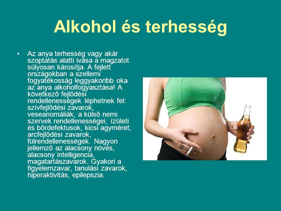 Alkohol és terhesség Az anya terhesség vagy akár szoptatás alatti ivása a magzatot súlyosan károsítja. A fejlett országokban a szellemi fogyatékosság