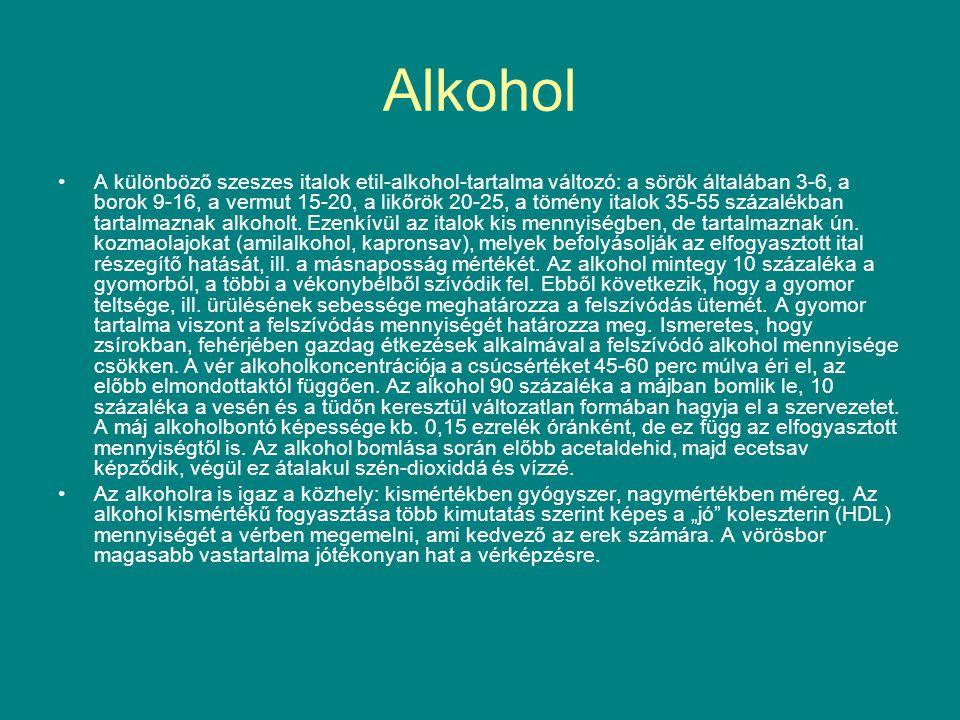 Alkohol A különböző szeszes italok etil-alkohol-tartalma változó: a sörök általában 3-6, a borok 9-16, a vermut 15-20, a likőrök 20-25, a tömény italo
