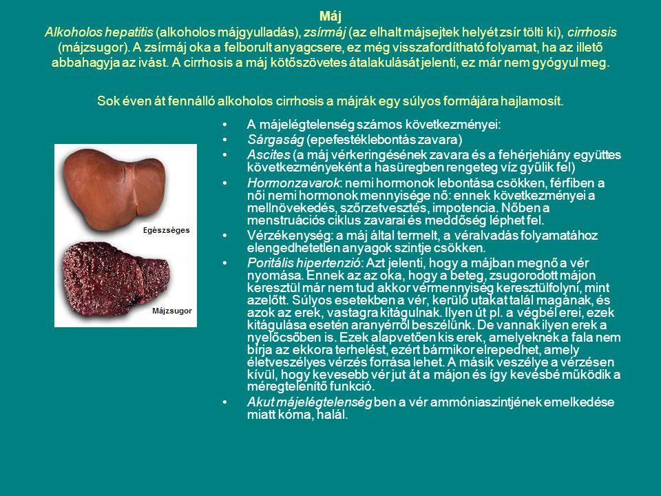 Máj Alkoholos hepatitis (alkoholos májgyulladás), zsírmáj (az elhalt májsejtek helyét zsír tölti ki), cirrhosis (májzsugor). A zsírmáj oka a felborult