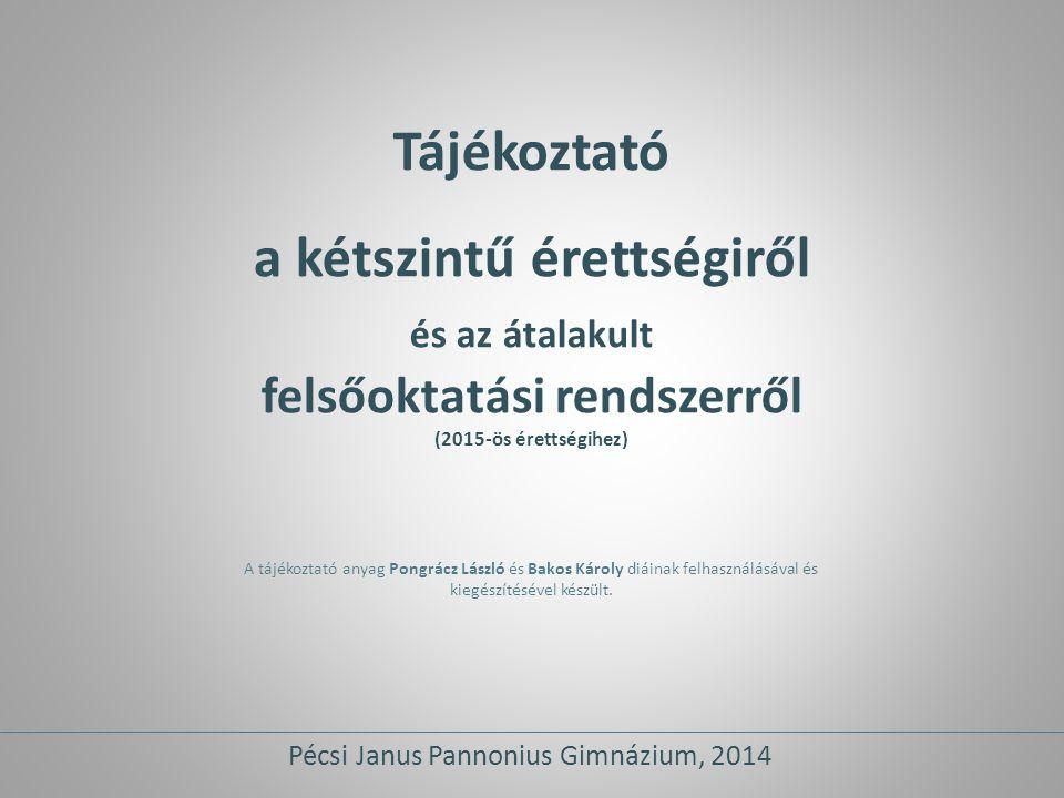 Tájékoztató a kétszintű érettségiről és az átalakult felsőoktatási rendszerről (2015-ös érettségihez) A tájékoztató anyag Pongrácz László és Bakos Kár