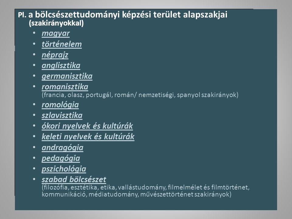 Pl. a bölcsészettudományi képzési terület alapszakjai (szakirányokkal) magyar történelem néprajz anglisztika germanisztika romanisztika (francia, olas