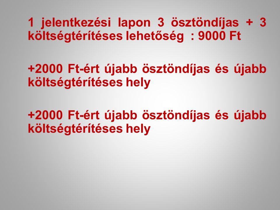1 jelentkezési lapon 3 ösztöndíjas + 3 költségtérítéses lehetőség : 9000 Ft +2000 Ft-ért újabb ösztöndíjas és újabb költségtérítéses hely