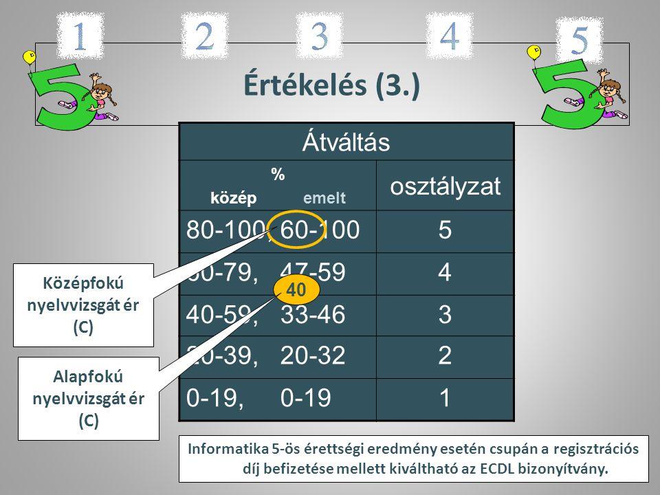 Értékelés (3.) Átváltás % közép emelt osztályzat 80-100, 60-1005 60-79, 47-594 40-59, 33-463 20-39, 20-322 0-19, 0-191 Középfokú nyelvvizsgát ér (C) 4
