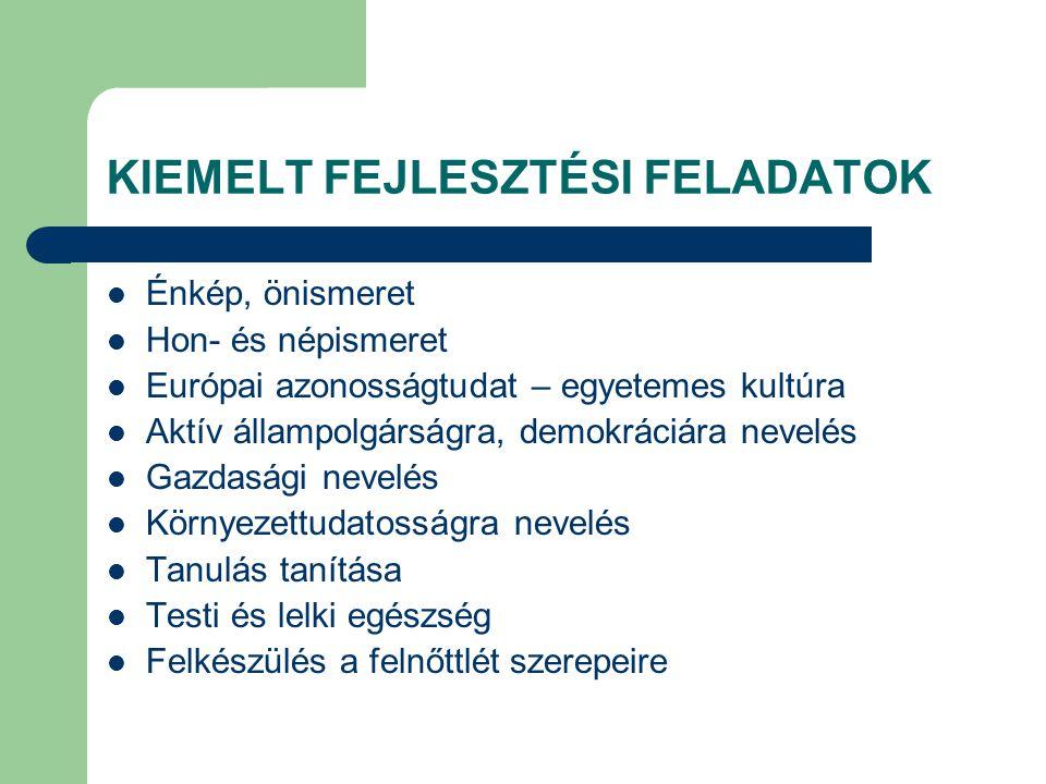 KIEMELT FEJLESZTÉSI FELADATOK Énkép, önismeret Hon- és népismeret Európai azonosságtudat – egyetemes kultúra Aktív állampolgárságra, demokráciára neve