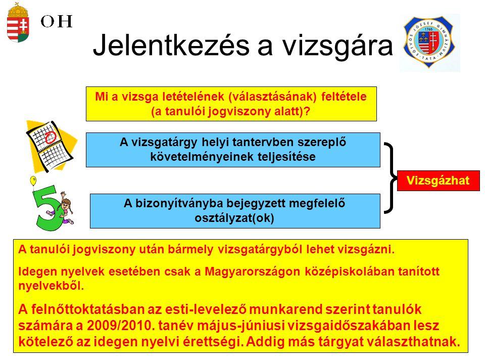 10 Kötelező tárgyak Magyar nyelv és irodalom (k, e) Történelem (k, e) Matematika (k, e) Első idegen nyelv (k, e)