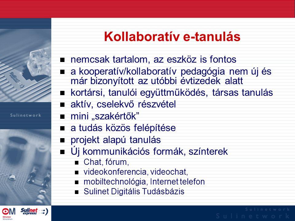 www.sulinet.hu Kollaboratív eszközök Nem a tananyag, hanem az eszköz a kooperatív Cél: –Nemcsak a kommunikáció –Közös munka, kooperatív környezet Kollaborációs/kooperatív szoftver eszközök –e-mail, chat, fórum, közös mappa –phpBB (http://www.phpbb.com/)http://www.phpbb.com/ –BSCW (http://bscw.gmd.de/)http://bscw.gmd.de/ –Synergeia (http://bscl.fit.fraunhofer.de/)http://bscl.fit.fraunhofer.de/ –FLE3 (http://fle3.uiah.fi)http://fle3.uiah.fi –Sulinet Digitális Tudásbázis