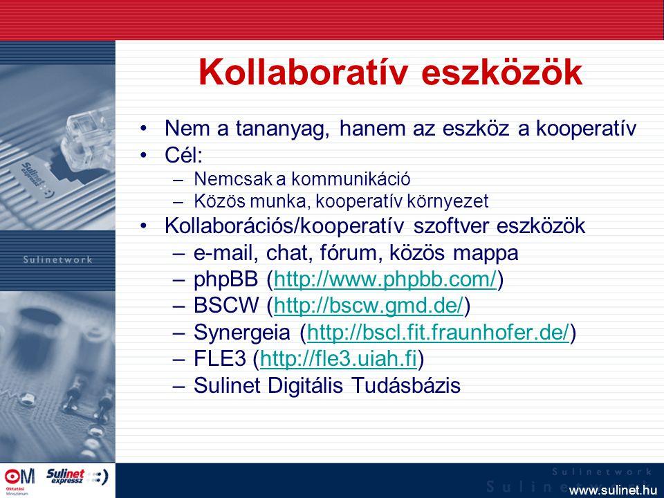 www.sulinet.hu Egy kooperatív munkában mindenki tanul valamit. A tanár is! fozoa@sulinet.hu