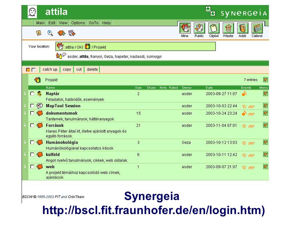 www.sulinet.hu Synergeia http://bscl.fit.fraunhofer.de/en/login.htm)